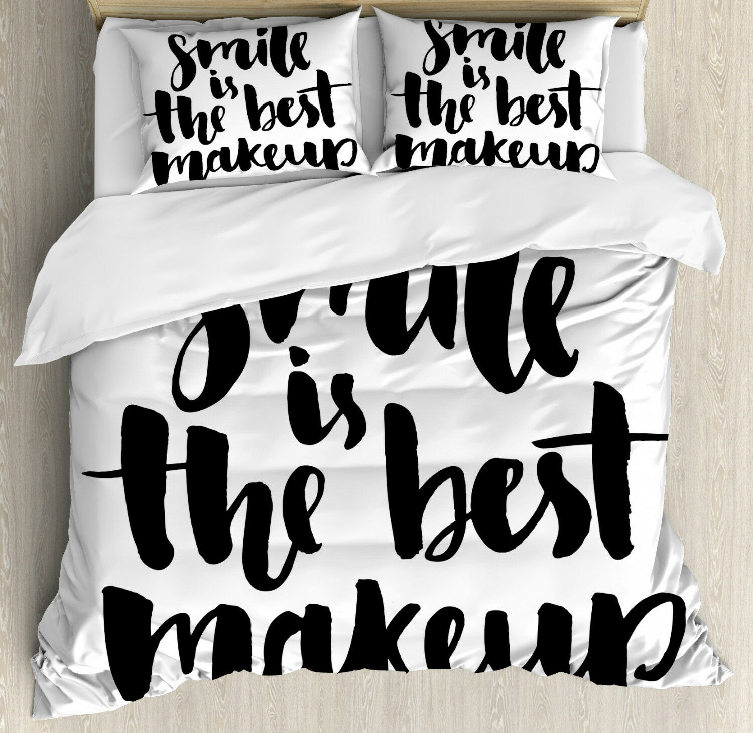 Quote Duvet Cover Set with Pillow Shams Smile Motivational Letter Print