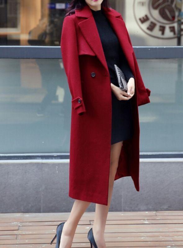 Womens Fashion belt belt belt  woolen  trench coat slim fit Overcoat parkas outwear 8c65a4