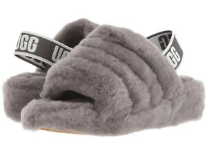 Women-039-s-Shoes-UGG-FLUFF-YEAH-SLIDE-Sheepskin-Slipper-Sandals-1095119-CHARCOAL