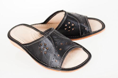 Womens Ladies 100/% Natural Leather Slipper Mules Flip-flop Sandals Black