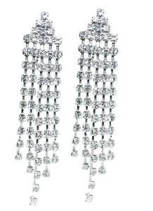 CLIP-ON-Dangle-Long-RHINESTONE-Sparkly-Tassel-Earrings-Diamante-Chandelier-Drop