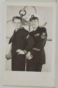 RPPC-Attractive-Navy-Sailor-Captain-Studio-Real-Photo-Postcard-O10