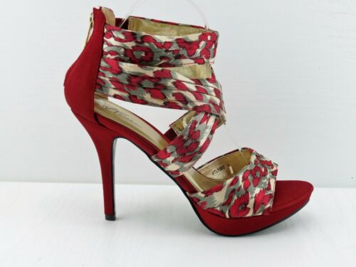 Red Leopard Satin Shoes Open Toe Crossed Front Zip Back Leopard Sole 4/' Heel