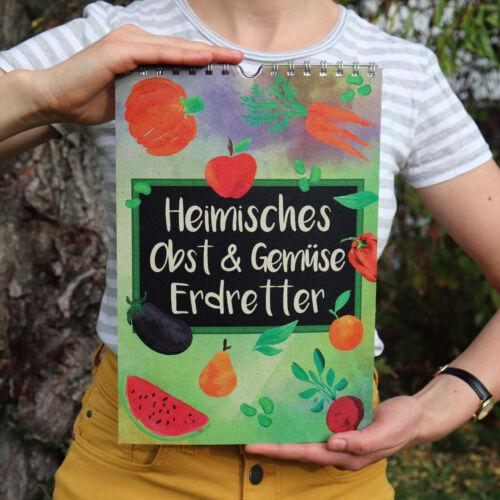 Saisonkalender Obst und Gemüse A4 von Erdretter Kalender vegan /& nachhaltig