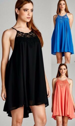 Jodifl Lace Trim Open Back Tank Dress Shift Sleeveless Bohemian Boho Chic J1255