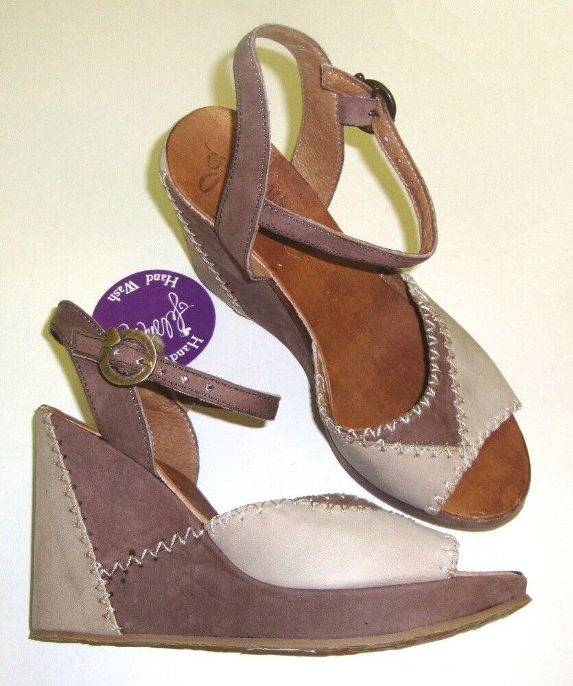 FELMINI Sandaletten / Sandalen Leder braun / grau NEU
