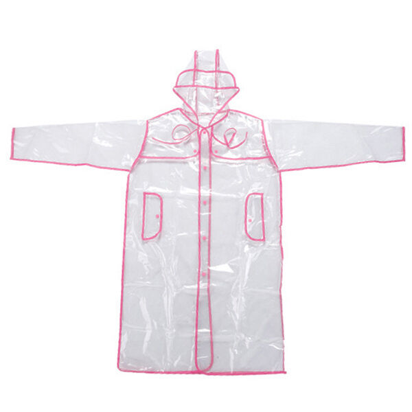 NEW CLEAR SEE THROUGH VINYL RAINCOAT TRANSPARENT PVC MAC CASUAL FESTIVAL JACKET