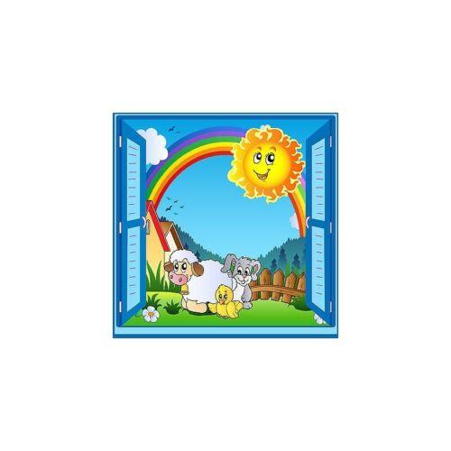 "Sticker child /""the farm/"" window trompe l/'oeil ref 928"