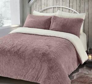 Piumino Copripiumino.Finta Pelliccia Sherpa Rosa Bianco Reversibile Singolo Set Piumino