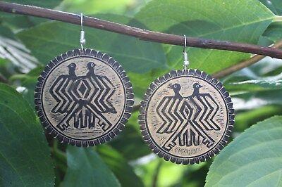Double headed Bird Earrings Hand Carved Gourd Folk Art Oaxaca Mexico hippie Boho