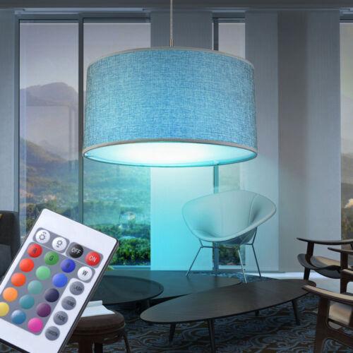 LED Pendelleuchte grau RGB Farbwechsel Decken Hängelampe rund Dimmer Stoff taupe