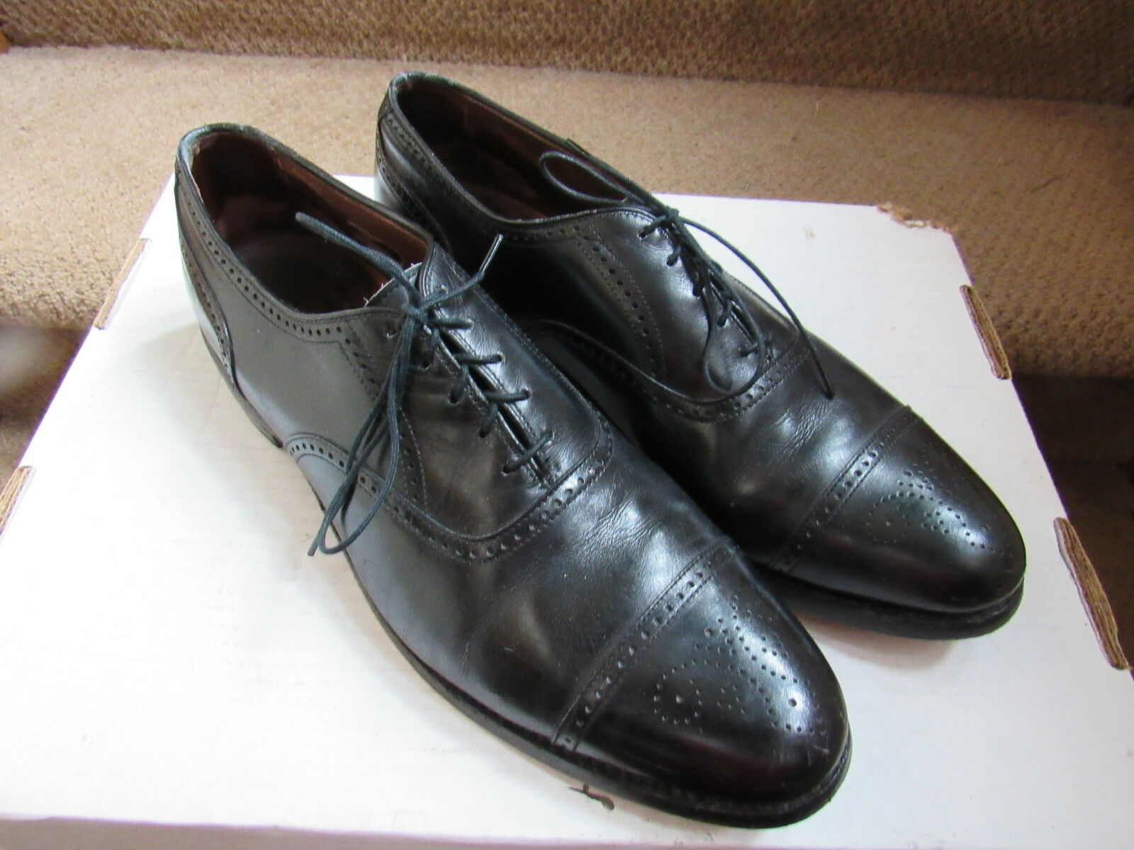PAIR OF ALLEN EDMONDS STRATTON WING B TIP OXFORD BLACK DRESS Schuhe SIZE 11.5 B WING 1ed827