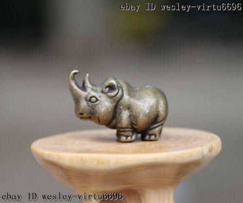 China Pure Bronze Copper Lucky Rhinoceros Rhino Diceros Animal Figurine T035