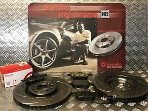 FRONT-DRILLED-amp-GROOVED-BREMBO-BRAKE-DISCS-amp-PADS-AUDI-TT-S3-1-8T-QUATTRO-225