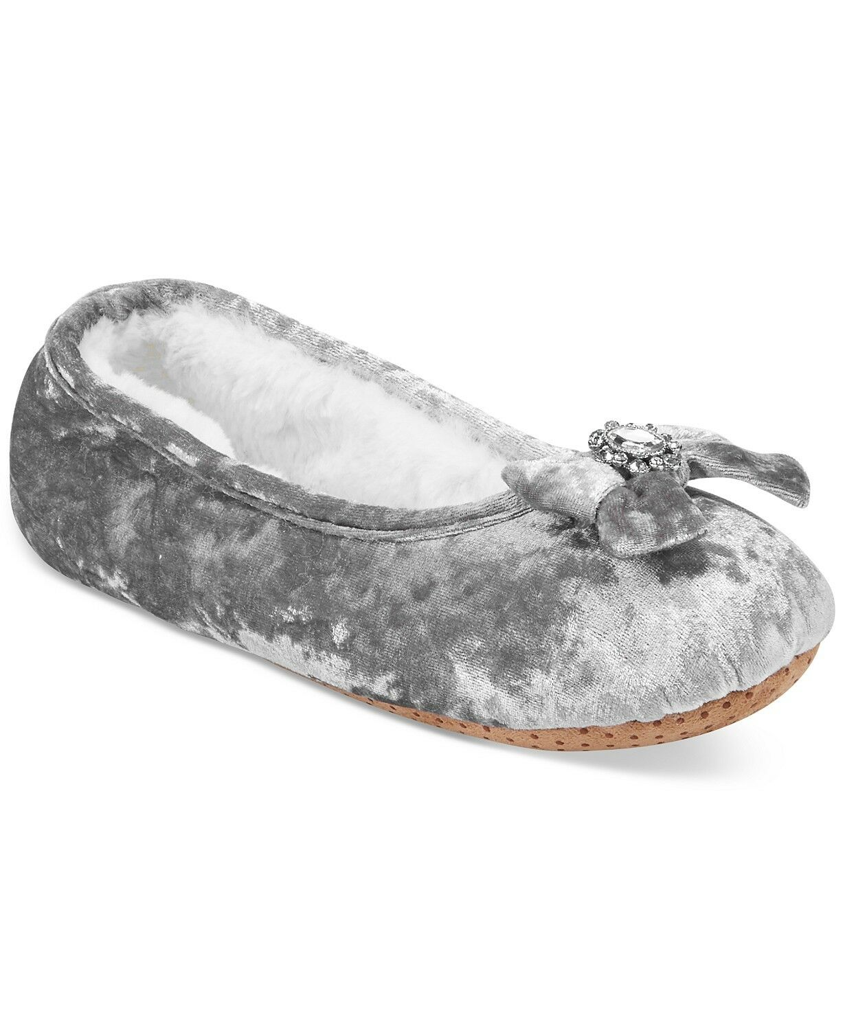 NWT INC International Concepts Embellished Ballerina Slippers in Silver M 7/8