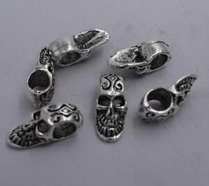 2pcs-Antique-silver-plated-nice-pattern-skull-spacer-bead-T0615