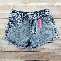 Refuge Womens Size 0 High Waist Acid Wash Cut Off Shorts Vintage Cheeky $25