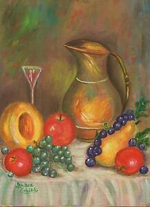 VINTAGE APPLES GRAPES CANTALOUPE SUMMER FRUIT RAINBOW COLORS STILL LIFE PAINTING