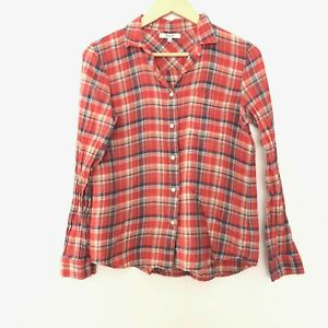 Madewell-Womens-Small-Long-Sleeve-Plaid-Flannel-Button-Front