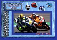 Personalised birthday card Motor bike son dad grandson husband n