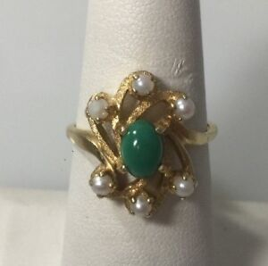 14-KT-YELLOW-GOLD-SEEDPEARLS-amp-TURQUOISE-RING-SIZE-7-75