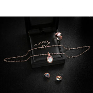 Fashion-Women-Elegance-Crystal-Rose-Gold-Necklace-Ring-Earring-Jewelry-Sets
