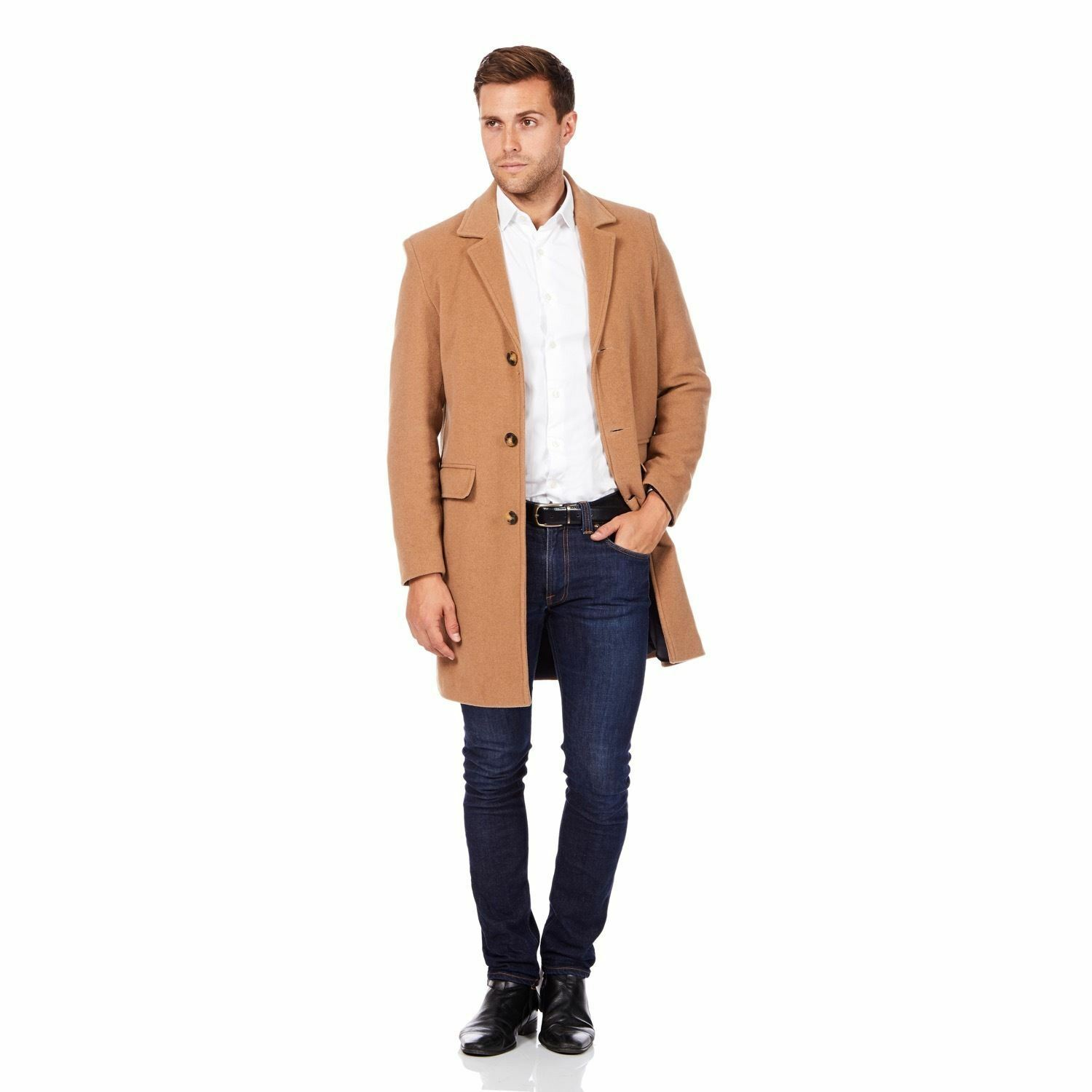De La Creme MAN - Men's Single Breasted Wool Mix Overcoat