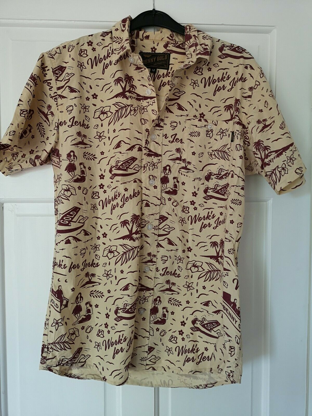 Button Up Benny gold Hawaiian Luau T Shirt work's for jerks mens