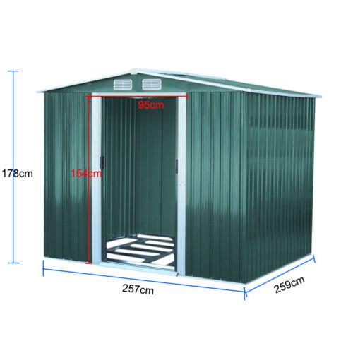 6x4 8x4 10x8 FT Apex // Pent Roofed Metal Shed L XL Garden Storage Unit Sheds