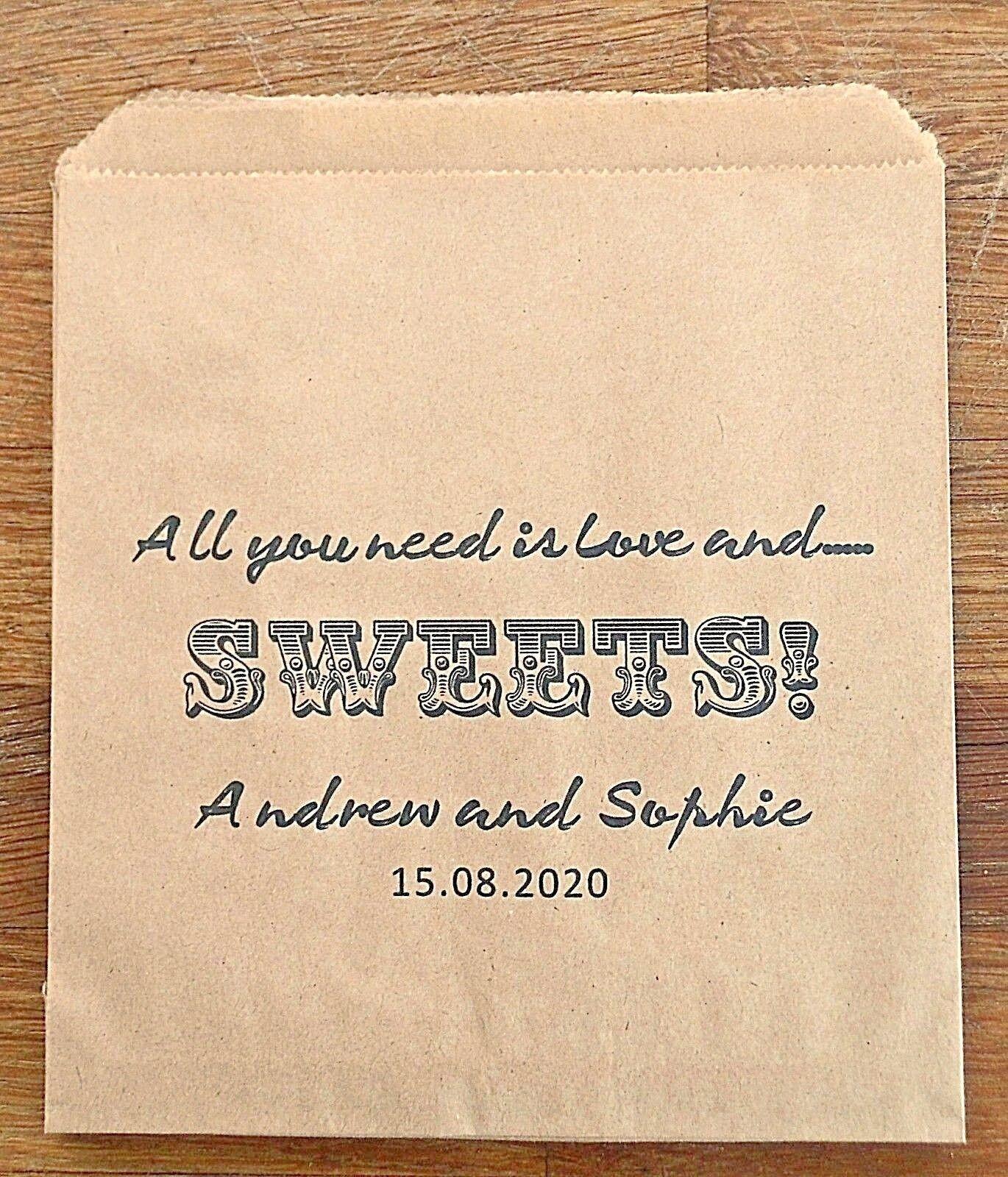 Carta Caramelle Marronee Vintage Personalizzato Matrimonio Sacchetti Caramelle Carta Candy Carrello Favore Torta 706600