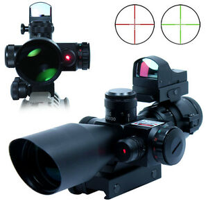 2.5-10X40 Tactical Rifle Scope with Red Laser & Mini Reflex 3 MOA Red Dot Sight