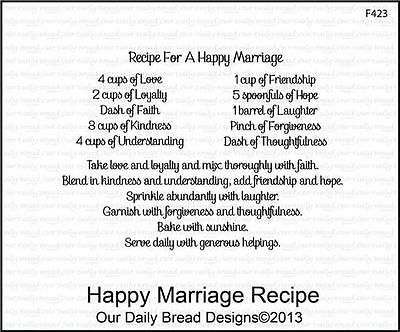 Our Daily Bread Designs Cling Stamp Happy Marriage Recipe F423