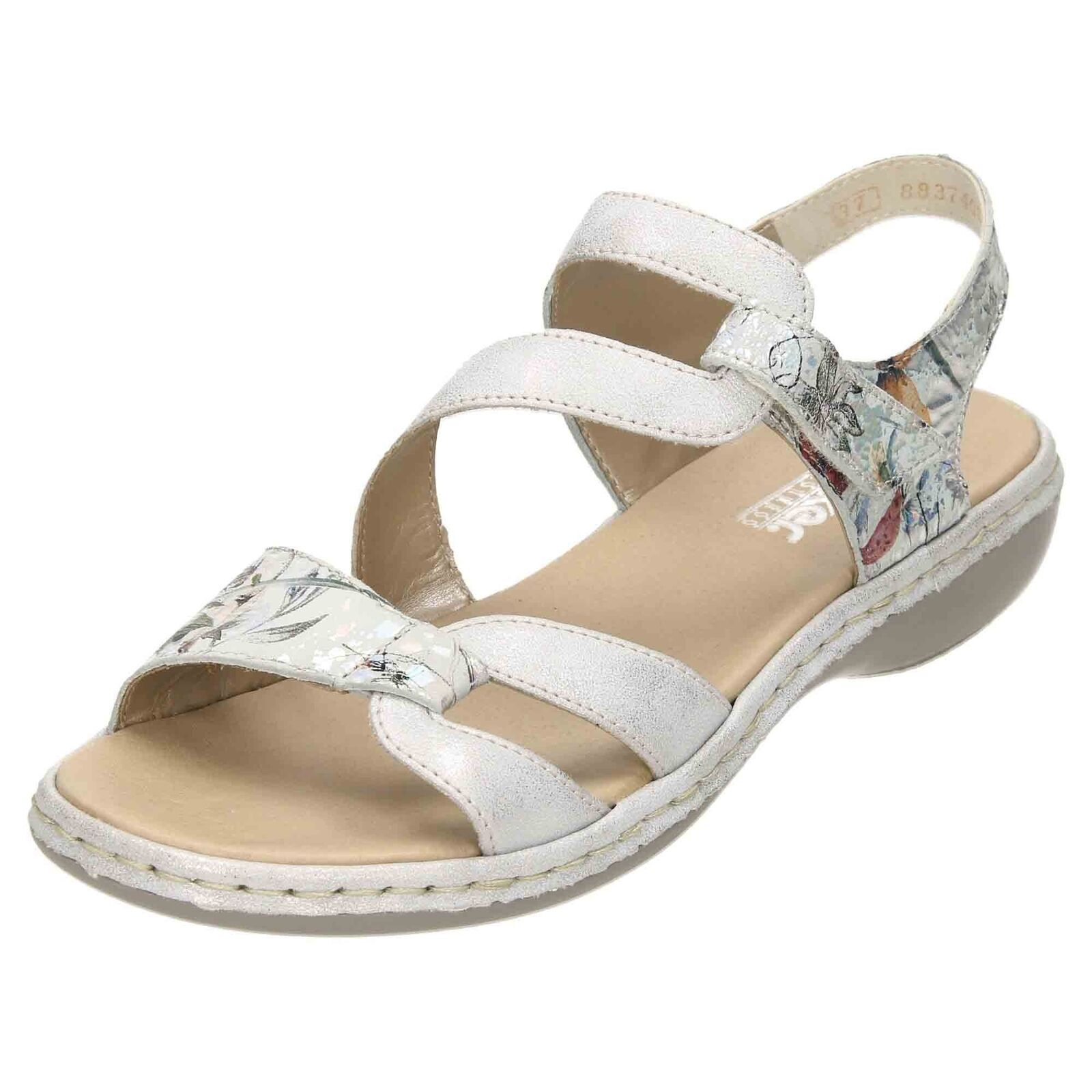 Rieker Slingback Leather Open Toe Sandals 65969-82 Rip Tape Low Wedge Strappy