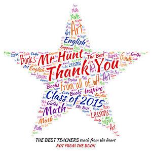 personalised thank you teacher word art print star ebay