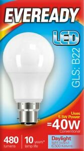 10x-5-5w-40w-LED-GLS-Bayonet-BC-B22-Light-Bulb-Daylight-White-40-Watt-Eveready