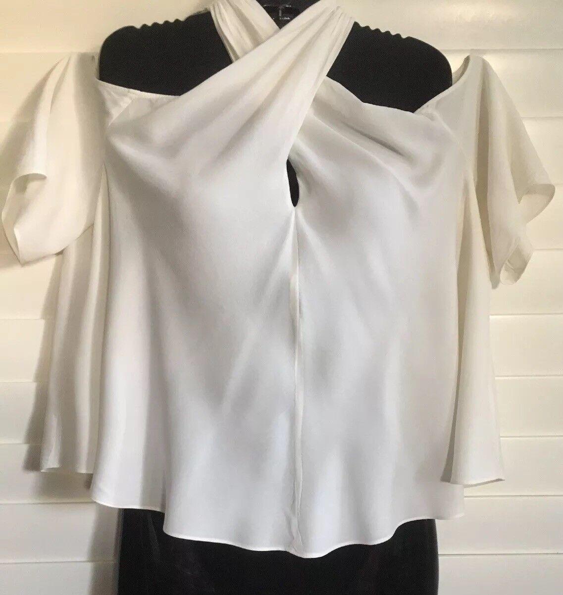 A.L.C.  New damen Ivory Silk Cold Shoulder Cross-Over Blouse W Short Sleeve