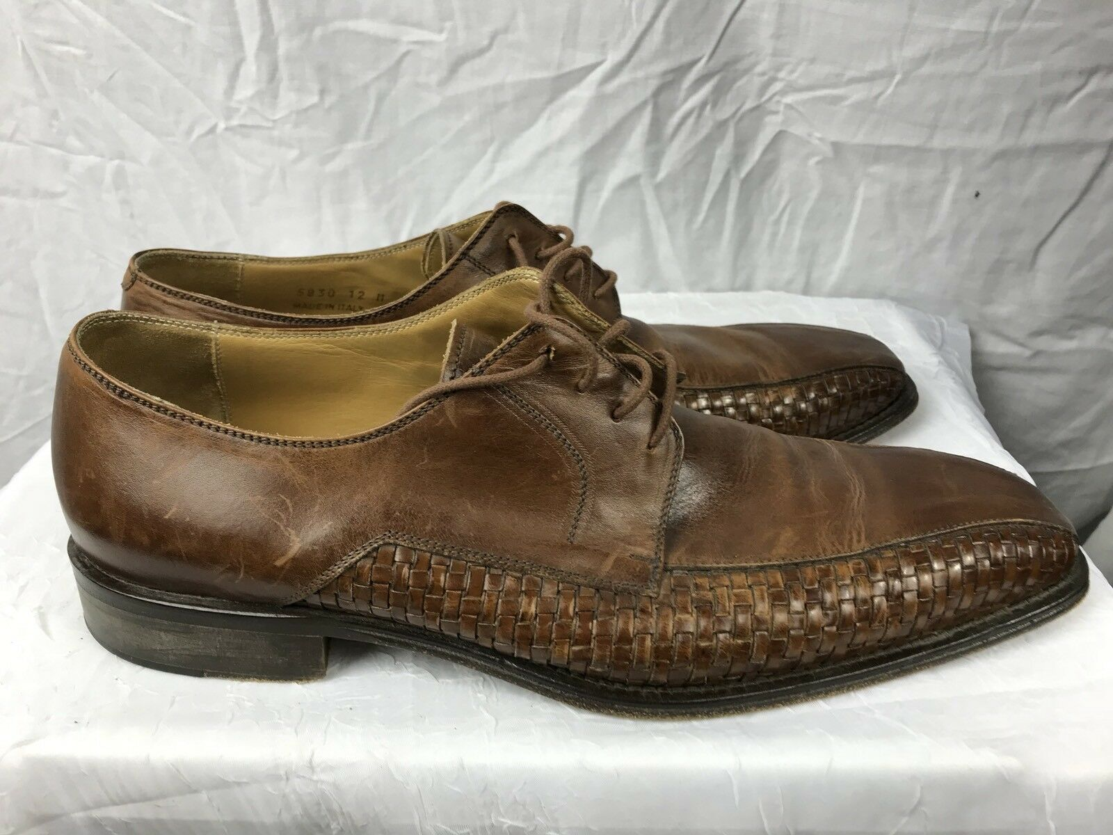 Mercanti Fiorentini Mens 12D Brown Leather Casual Oxford shoes