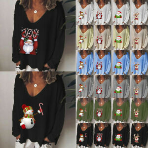 Women-Christmas-Print-V-Neck-Long-Sleeve-T-Shirt-Xmas-Casual-Ladies-Loose-Blouse