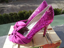 Hammer sexy fast neue 11cm Peep Toes + Pailletten & rote Sohle Buffalo gr 40-41