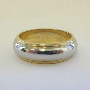 TIFFANY Co Platinum 18K Gold 6mm Milgrain Wedding Band Ring 6 EBay