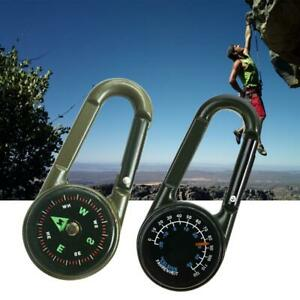 Compass Thermometer Key Ring Outdoor Hiking Tactical Survival Carabiner Keychain