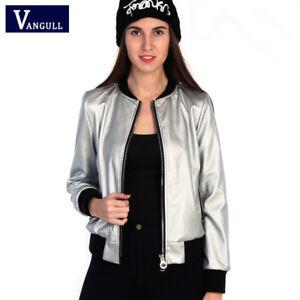 new styles 8de39 95136 Dettagli su Giacca giubbetto giubbino donna silver argento pelle sintetica  morbido g183