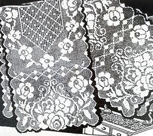 Reproduction 2650 Laura Wheeler 1940 FILET ROSES DOILY Pattern to crochet