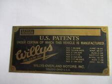 Typenschild Willys jeep Schild id-plate Messing Plakette