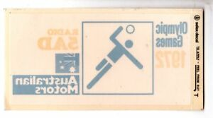 1972-Olympics-Volleyball-RADIO-5AD-Australian-Motors-WINDOW-STICKER-EXC-Rare
