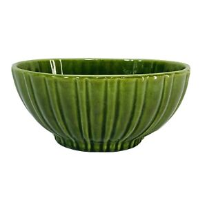 Vintage Haeger Pottery Oval Vase Bowl Planter Green Ribbed 4020 Made USA 7.5""