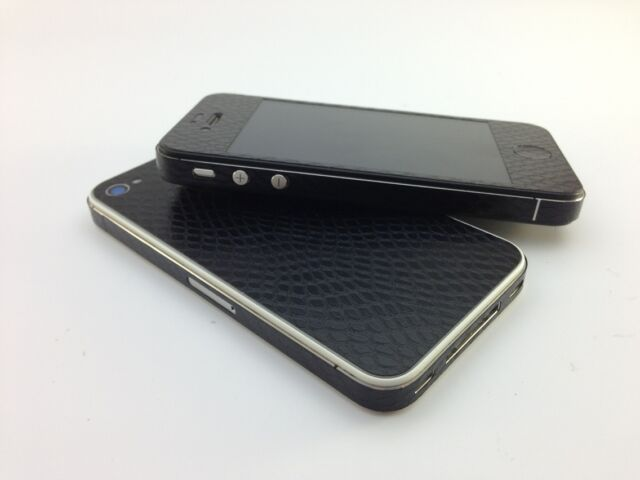 Textured Leather Effect Skin Sticker for iPhone 4 4s Decal Wrap Cover Case