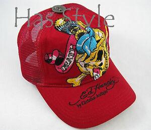 Ed-Hardy-Trucker-Cap-Red-Death-or-Glory-SKULL-Audigier