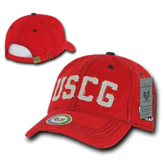 United States US Coast Guard USCG Vintage Military Washed Polo Baseball Cap Hat