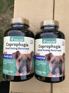 2x-NaturVet-COPROPHAGIA-DETERRENT-Stops-Dogs-from-Eating-Poop-120-Tabs-60pcs